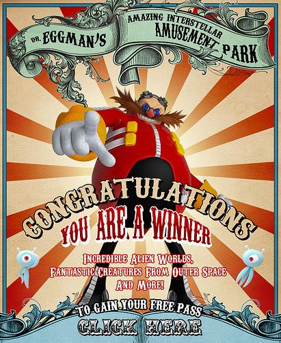 Poster for Eggman's amusement park.