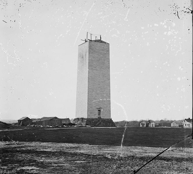 The partially completed monument in 1860