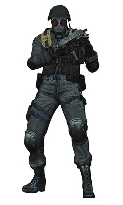 Character model of USS agent HUNK, from Resident Evil 4.