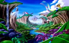 Rayman's world during the intro sequence.