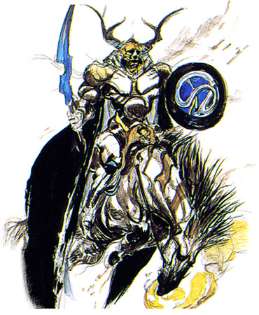 Final Fantasy's rendition of Odin by Yoshitaka Amano.