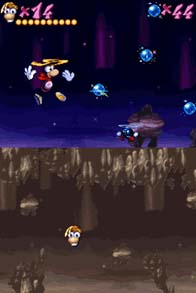 The DSi version has the second screen show a map of the entire level that can scroll independently from Rayman by dragging the stylus on the touch screen.