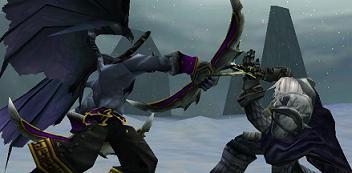 Illidan and Arthas battling each other