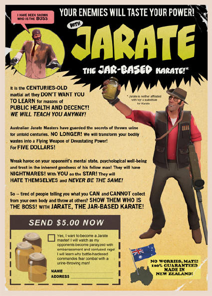 Advertisement for 'Jarate'.