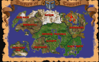 A map of Tamriel and its provinces.