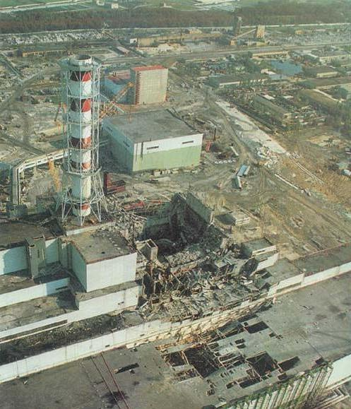 Chernobyl Reactor Four right after the accident.