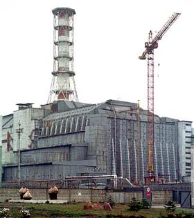 Reactor Four today, encased in its steel shelter.