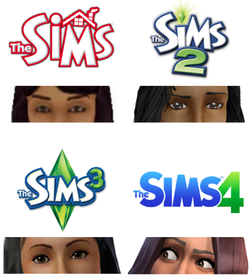 An unofficial fan-made image, depicting the evolution of the Sims' expressiveness