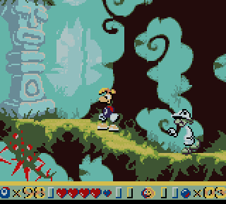 The Game Boy Color version features all-new levels separate from the 32-Bit Rayman.