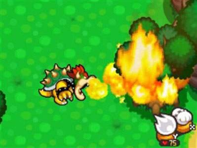 Bowser's trademark attack, fire breath!