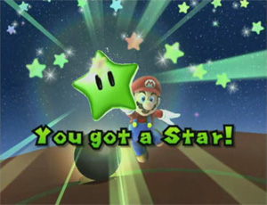 One of the Power Stars in the game, a green one.