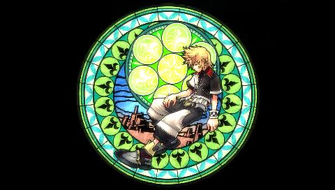Ventus depicted as stained glass