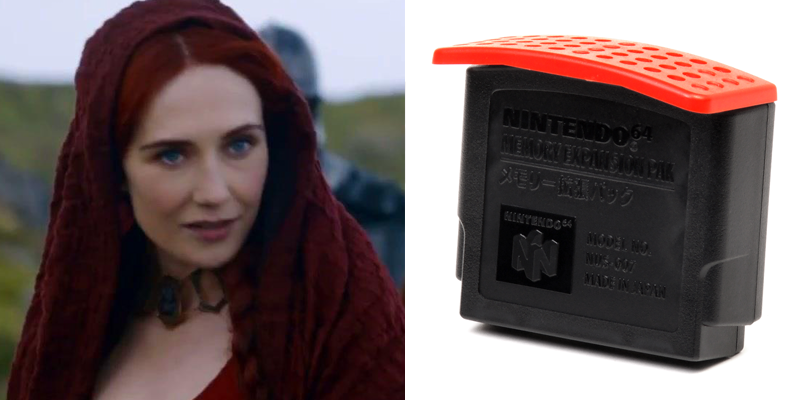 Melisandre – N64 Expansion Pak – Dons a red hood and empowers her liege. Not really sure how she does what she does.