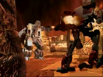 The intro sets the stage for the brutal 'Mech combat to come.