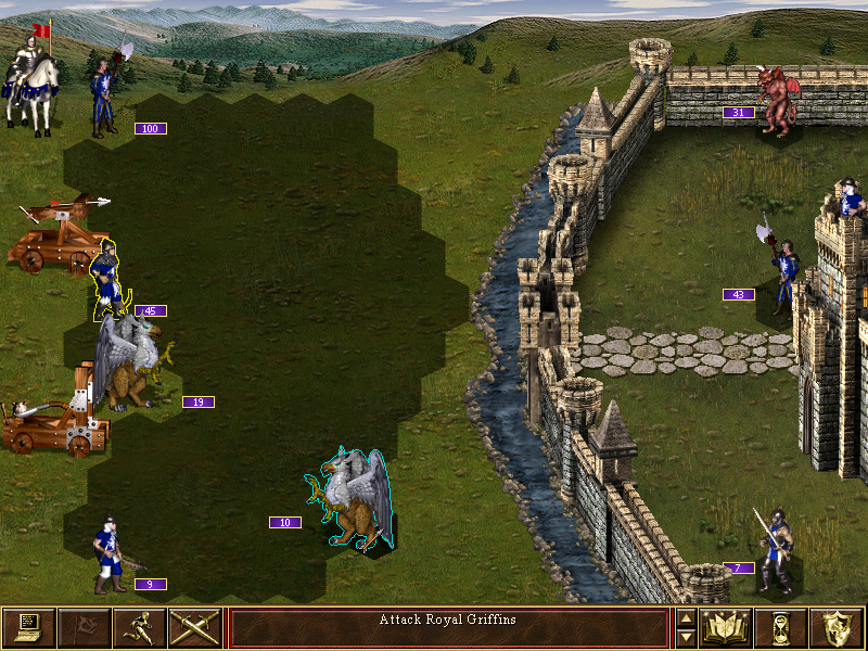 A siege scenario between opposing Castle players. Shaded hexes indicate the movement range of units.