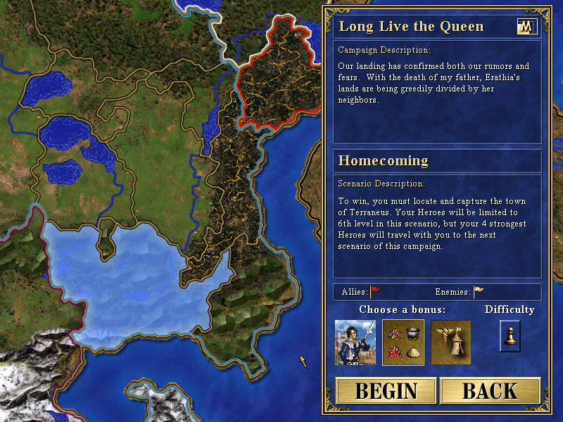 Campaign briefings allow players to choose a single starting bonus while also detailing general difficulty.