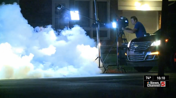 You can see the Al Jazeera reporter in the cloud on the left right after it was shot at them.