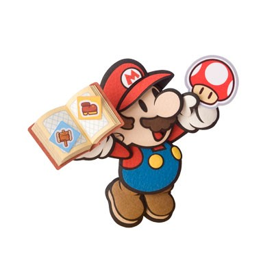 A paper Mario collecting stickers.