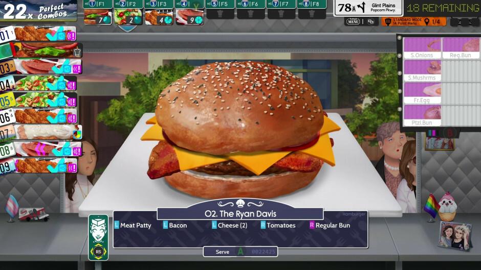 A Ryan Davis burger being made in a prep station