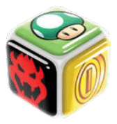 The cube has Bowser, a 1-Up Mushroom, and a coin.
