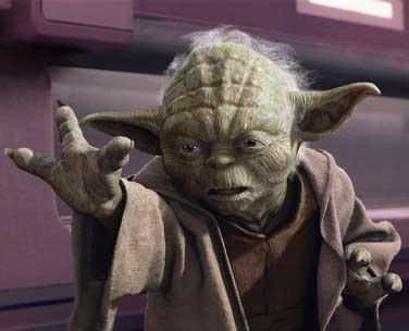 Yoda in the midst of a Force Push