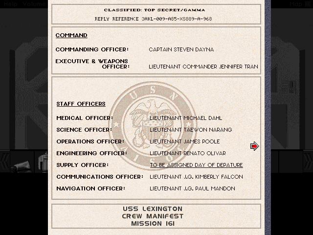 Excusing the typo, here's a list of the nine most important officers on board. We'll be rummaging through most of their staterooms for useful items, so it's only polite to know the names of the corpses we'll be robbing.