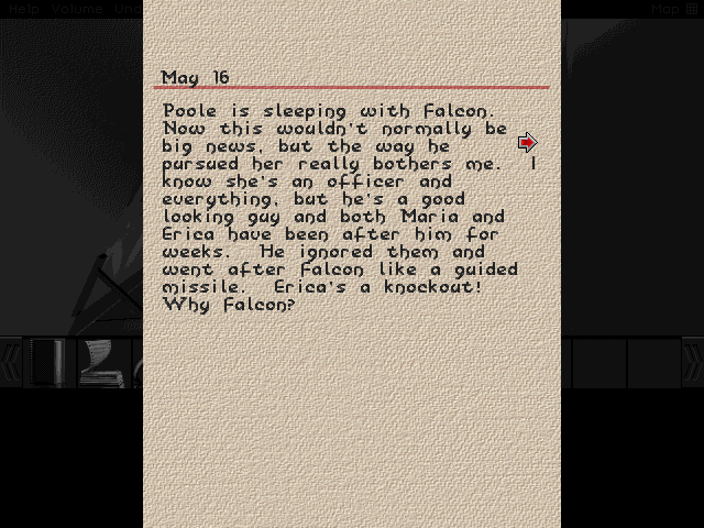 Ah, the gossipy Mary Qwan left a physical journal behind. Not only does she solve this little mystery for us, but casts all kinds of aspersions on Poole being a villainous UN agent. I suspect this info might come into play after I'm done fixing the ship.