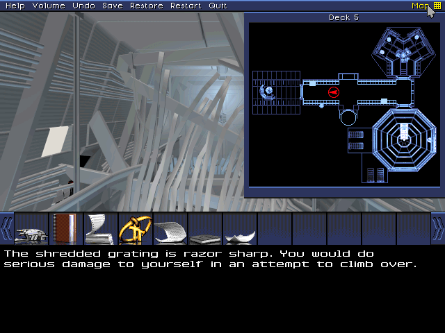 Deck 5 is potentially interesting, though this particular room looks like a no-go. Not unless I want to eviscerate myself on space age polymers.