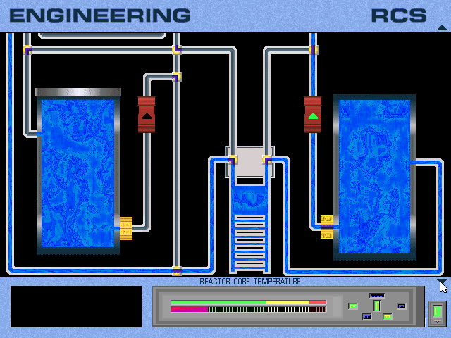 The game explains that the tank needs to be fed through the main reactor, through a heat sink and then back into the coolant tank to complete the circuit. It's a lot less annoying than I anticipated it might be, though it also took me a while to get my head around what I was supposed to be doing. Maybe I was just panicking too much.
