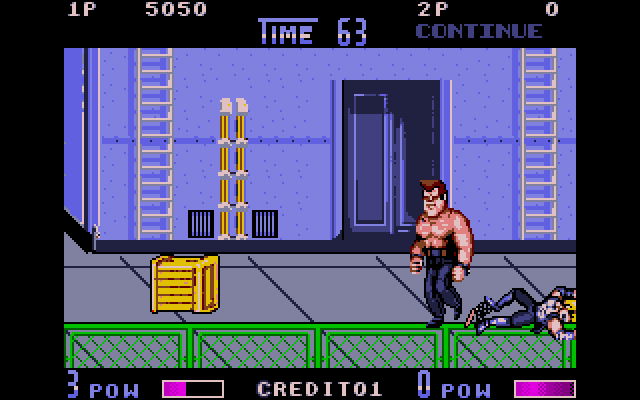 This guy is usually called O'Hara in Double Dragon ephemera (like Williams, there's a few enemies named for Enter the Dragon characters) but he kind of looks like Family Guy's Joe Swanson, but with working legs.