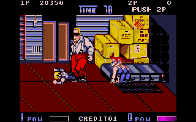 The second boss is Abore, and he's no joke. All right, a blond Terminator knock-off in red corduroy pants is kind of a joke, but he'll still slap that health bar right out of you.