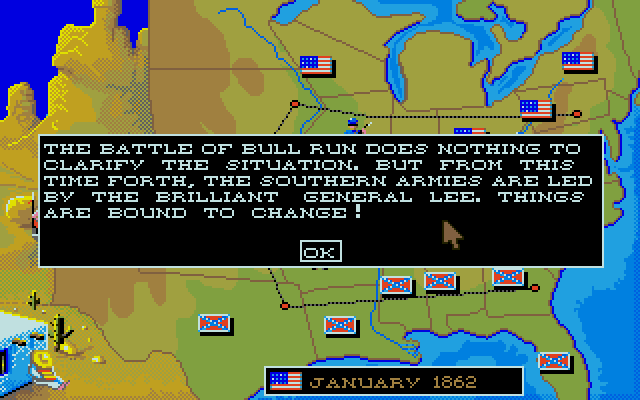 The game quickly brings us up to speed based on the year we chose. The South took the momentum after the First Battle of Bull Run and the war began in earnest. Both sides are about equal as of right now.