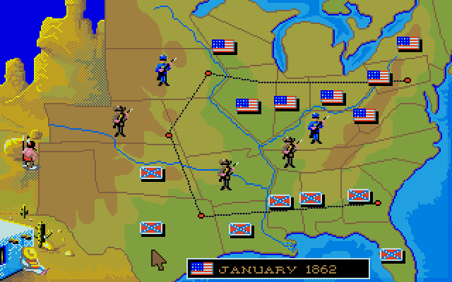 As you can see, we're mostly concerned with the territories involved with the Civil War. The sleepy Mexican (it's a very Belgian thing to spread the stereotypes around evenly, just see Asterix) will occasionally bomb troops in Texas, while the Native American will tomahawk a random unit on any of those western states. Doesn't happen every turn, but just often enough to be irksome for either side.