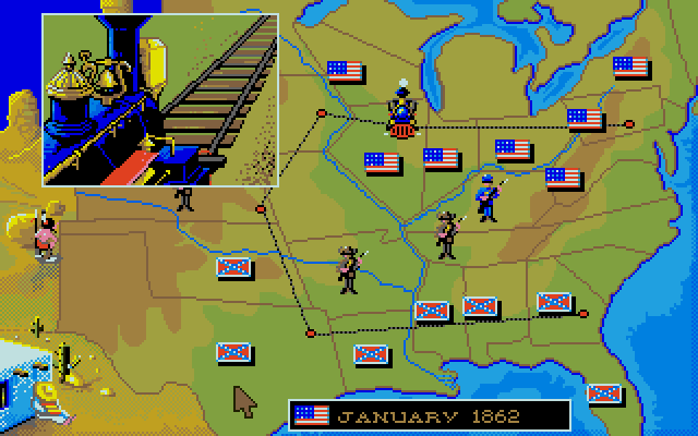 Every turn a train will pass from one occupied state to another (the stations are represented as dots). If they successfully complete the journey, the player that owns the two occupied states earns some cash. With enough cash, they can purchase new units.