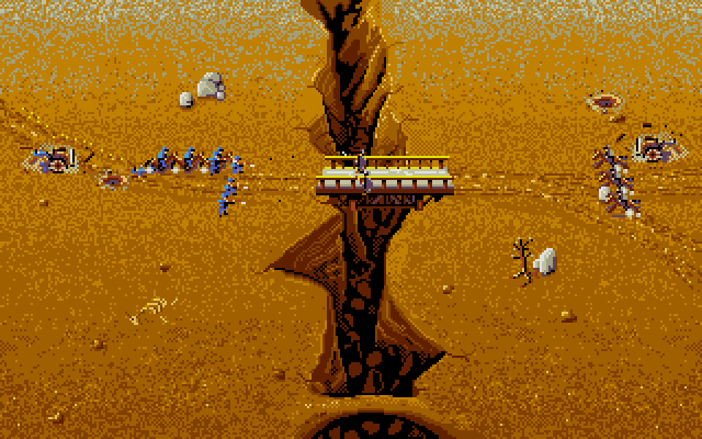 This is a great stage if you have the advantage with cannons (or just prefer using them). You can remove the bridge with a well-aimed cannonball, forcing the enemy cavalry and infantry to make the far more precarious route across the landbridge on the bottom of the screen. On two-player mode, however, it can lead to a lot of standstills.