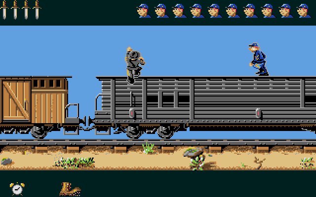 These sequences play out much like the fort invasions, but are a little trickier: the robber can only climb up the train at certain points, and if they get knocked off (or mess up a jump) in the gaps between the train cars, they have to quickly run to keep up. Once again, the rival player has the chance to slow down the robber with a handful of troopers they can send out judiciously.
