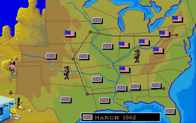 Due to circumstances beyond my control - I decided to set this as a CPU vs. CPU match so I could focus on screenshots - the Confederates won after about three turns. Whoops.