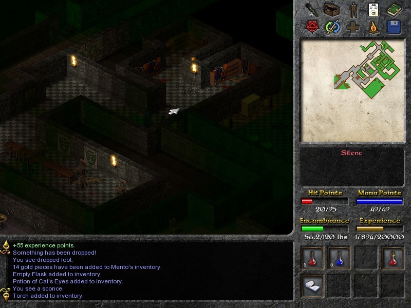 I particularly like how the game employs light sources tactically. The player and enemies alike take serious to-hit penalties in partial and total darkness, and you can use that to your advantage by coaxing them into the light while you stay in relative shade, or by dousing your torch and drinking an infrared potion when enemies approach. Fighting during the nighttime is often beneficial for this reason.