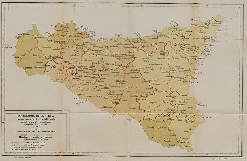 Map of Sicily in 1900 with red spots representing Mafia activity.