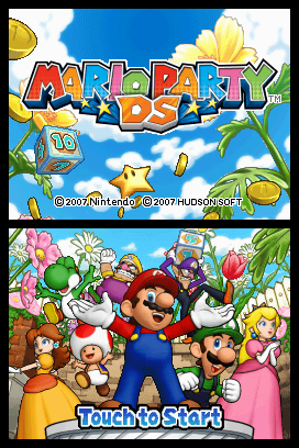 The game's title screen with the entire Mario Party gang.