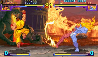 Sean fighting Gill in Street Fighter III: New Generation.