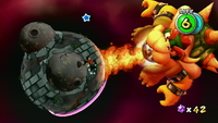 Fighting Bowser in an early level