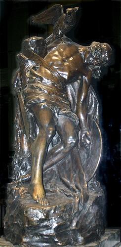 Statue depicting Cu Chulainn's death.