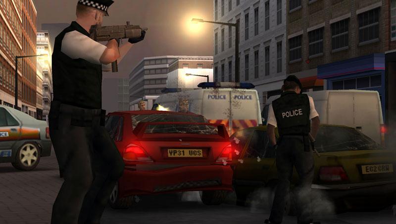 Police attacking an EC2 gang car