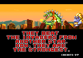 The playable monsters exult in the good ending (Arcade version).