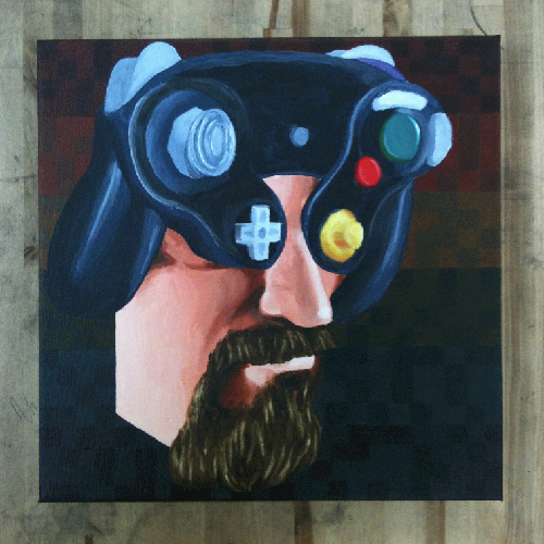 Self portrait in acrylic - that's real enough, right?