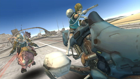The main characters adopt vehicles during an  action scene.