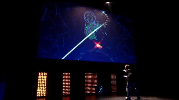Mizuguchi giving a demo of Child of Eden at E3 2010.