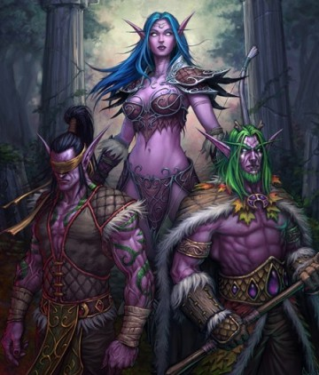 Tyrande Whisperwind and the brothers Stormrage