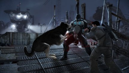 Shadow helping out Jack Slate take out an armored enemy.
